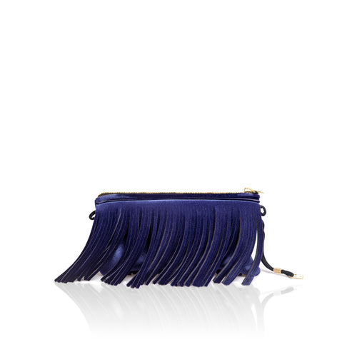 Hippy clutch* Velvet dark blue
