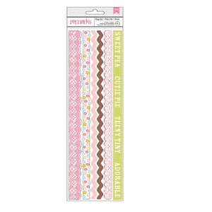 Remarks Baby Girl Border Stickers 6pc