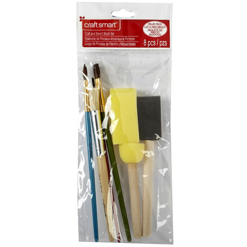 Craft And Stencil Brush Set 8pc-Craft Smart