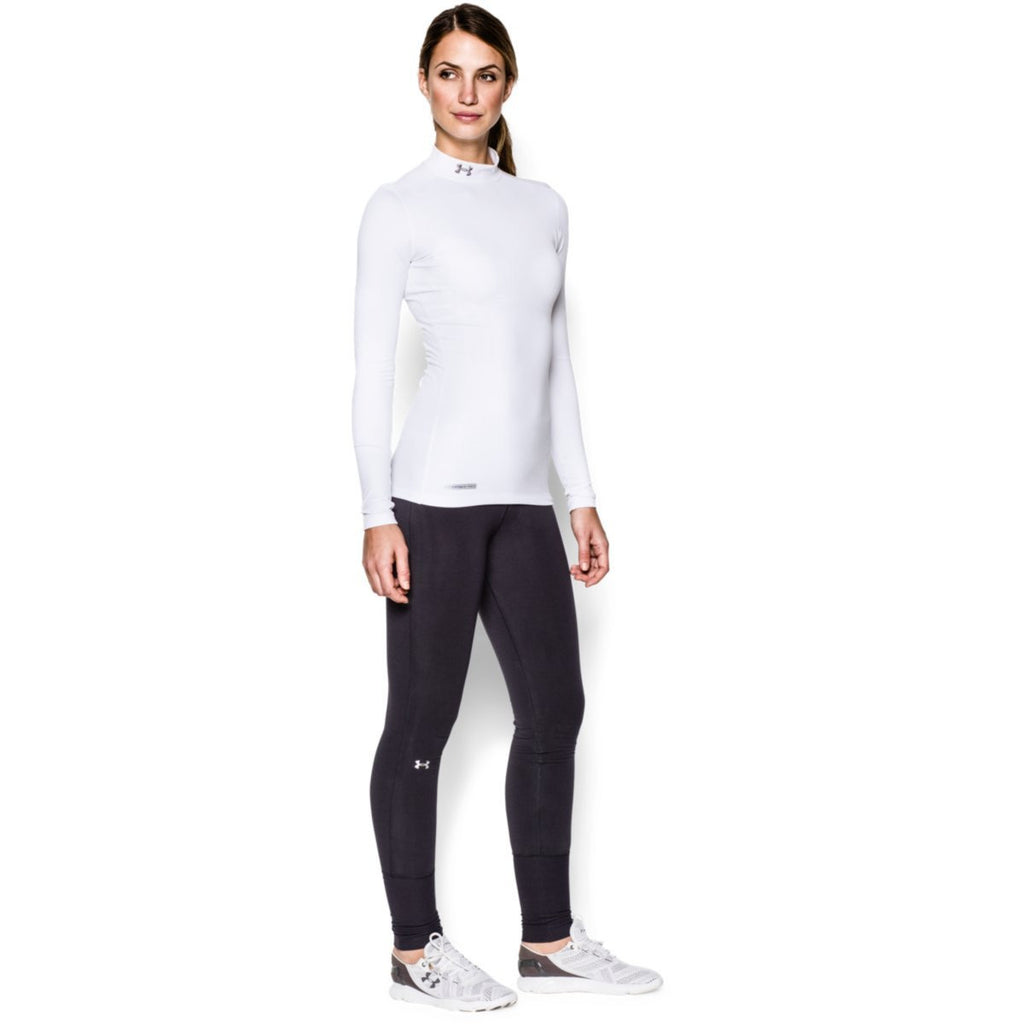 Under Armour Women's White ColdGear Fitted L/S Mock