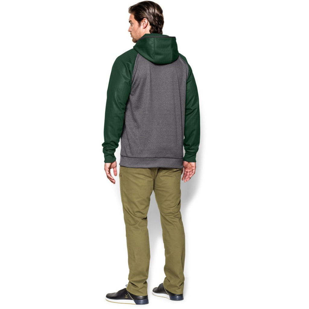 Under Armour Men's Carbon Heather/Forest Green Storm AF Colorblock Hoodie