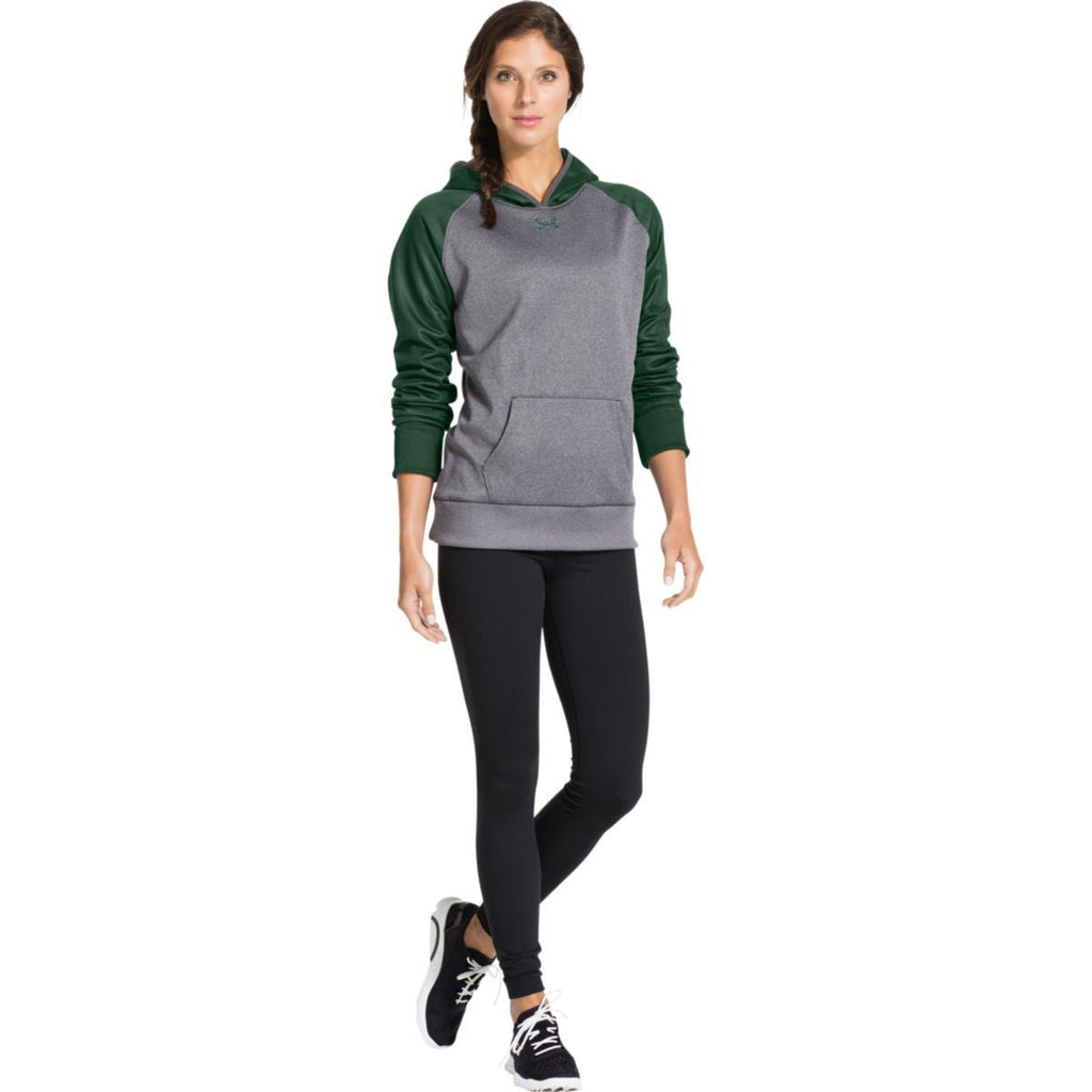 Under Armour Women's Carbon Heather/Forest Green Storm AF Colorblock Hoodie