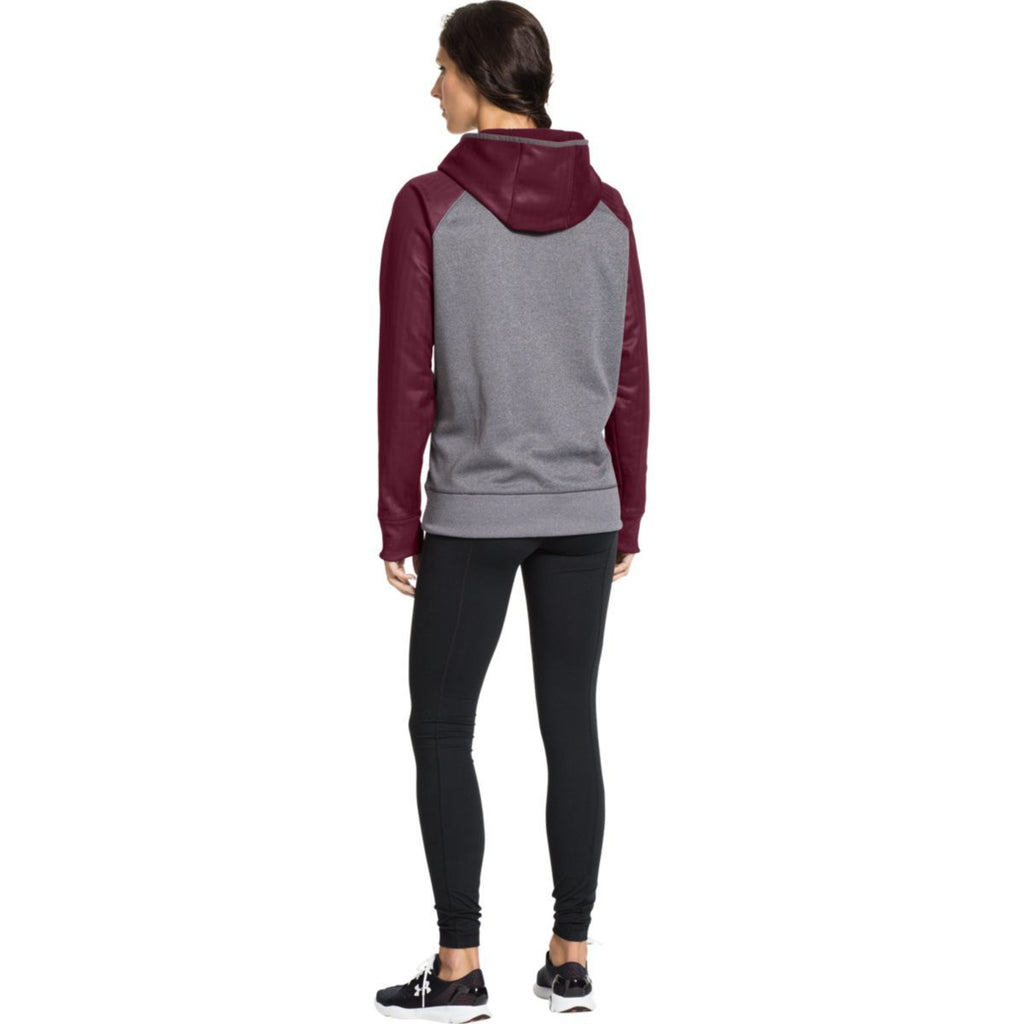 Under Armour Women's Carbon Heather/Maroon Storm AF Colorblock Hoodie