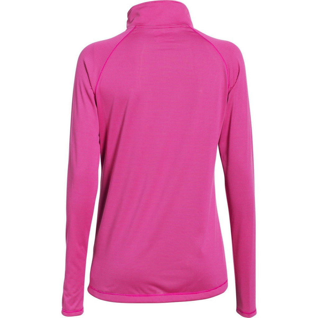 Under Armour Women's Tropic Pink Steel Stripe Tech 1/4 Zip