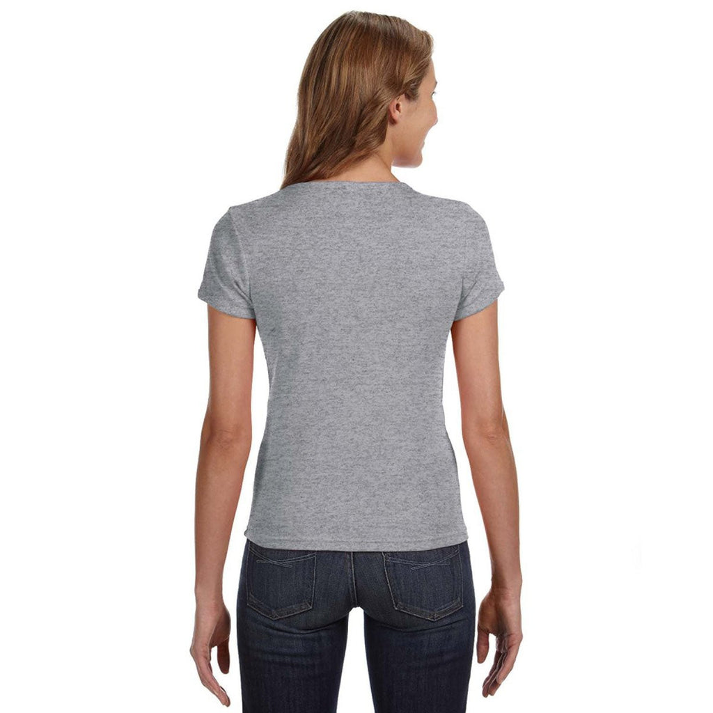 Anvil Women's Heather Grey Scoop T-Shirt