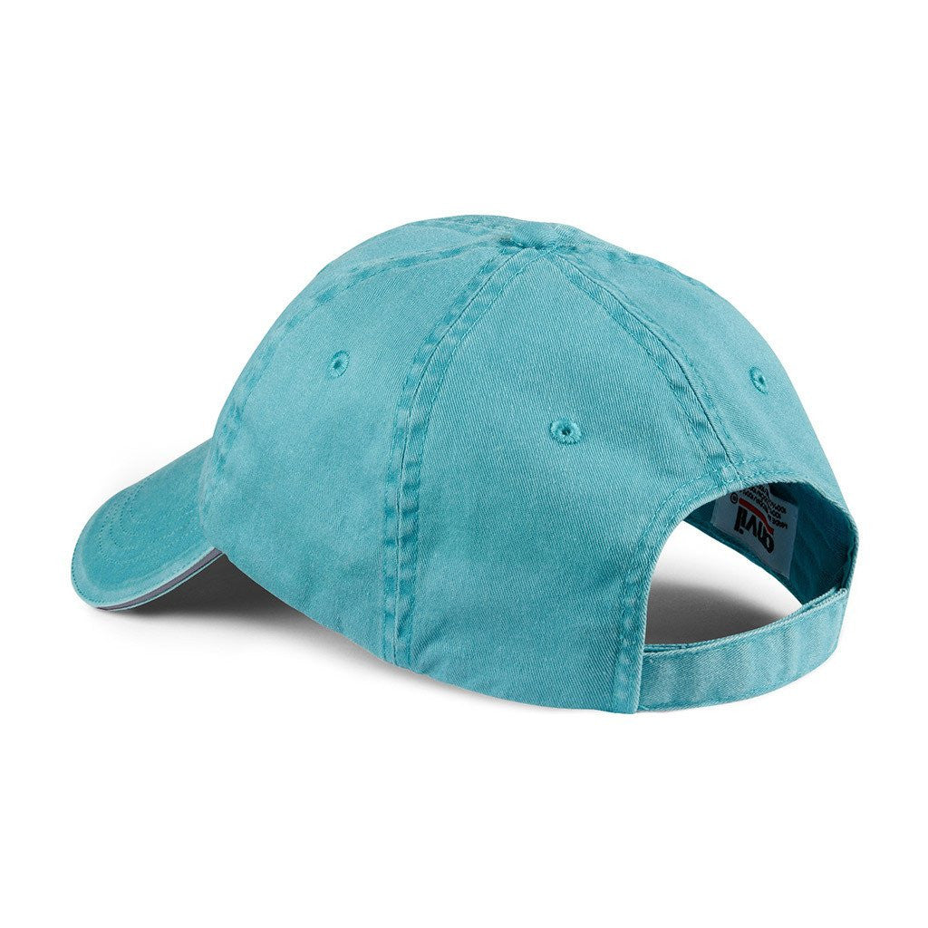 Anvil Aqua Solid Low-Profile Sandwich Trim Pigment-Dyed Twill Cap
