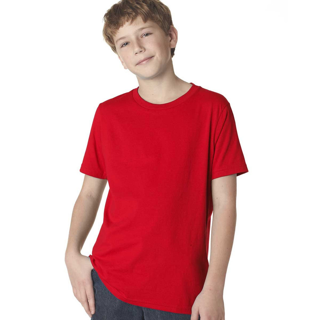 Next Level Boy's Red Premium Short-Sleeve Crew Tee