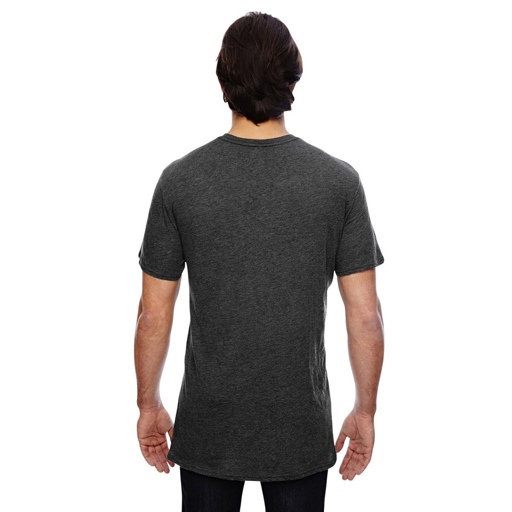 Anvil Men's Heather Dark Grey 3.2 oz. Featherweight Short-Sleeve V-Neck T-Shirt