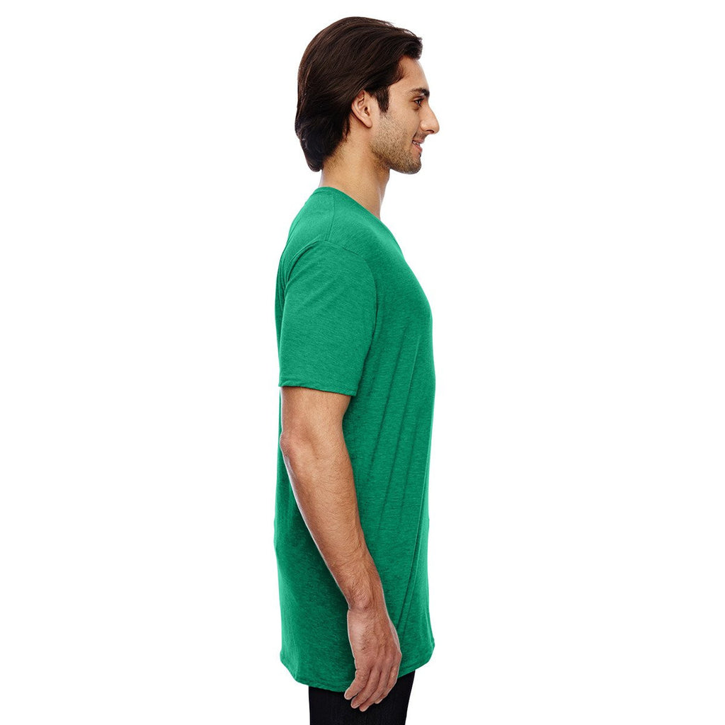 Anvil Men's Heather Green 3.2 oz. Featherweight Short-Sleeve V-Neck T-Shirt