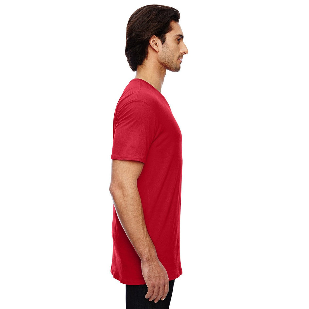 Anvil Men's Red 3.2 oz. Featherweight Short-Sleeve V-Neck T-Shirt