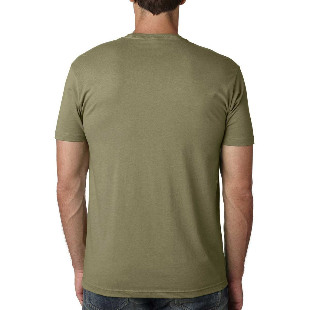 Next Level Men's Light Olive Premium Fitted Short-Sleeve Crew