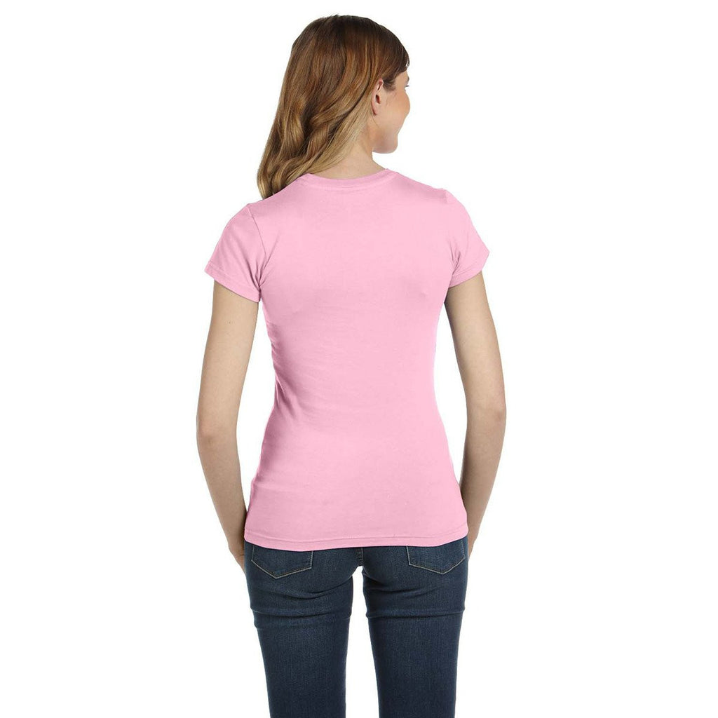 Anvil Women's Charity Pink Ringspun Fitted T-Shirt