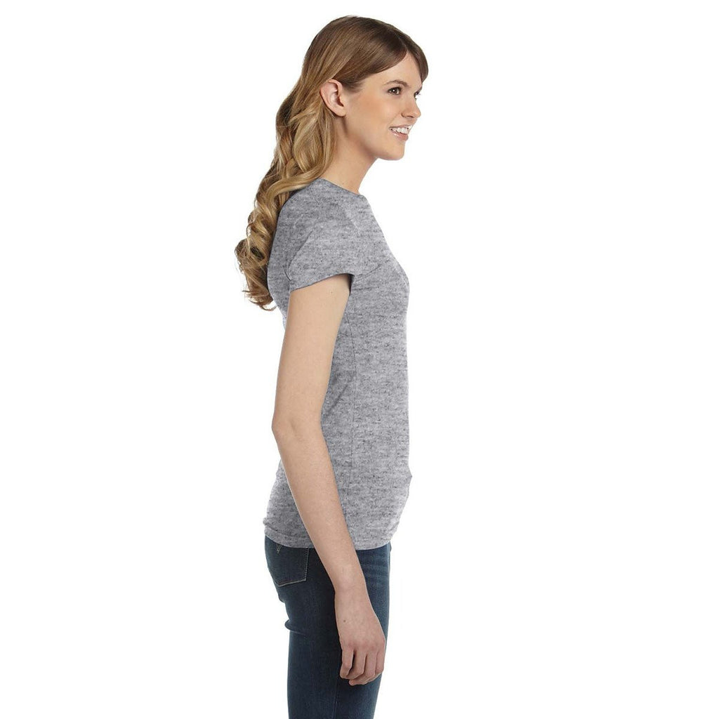 Anvil Women's Heather Grey Ringspun Fitted T-Shirt