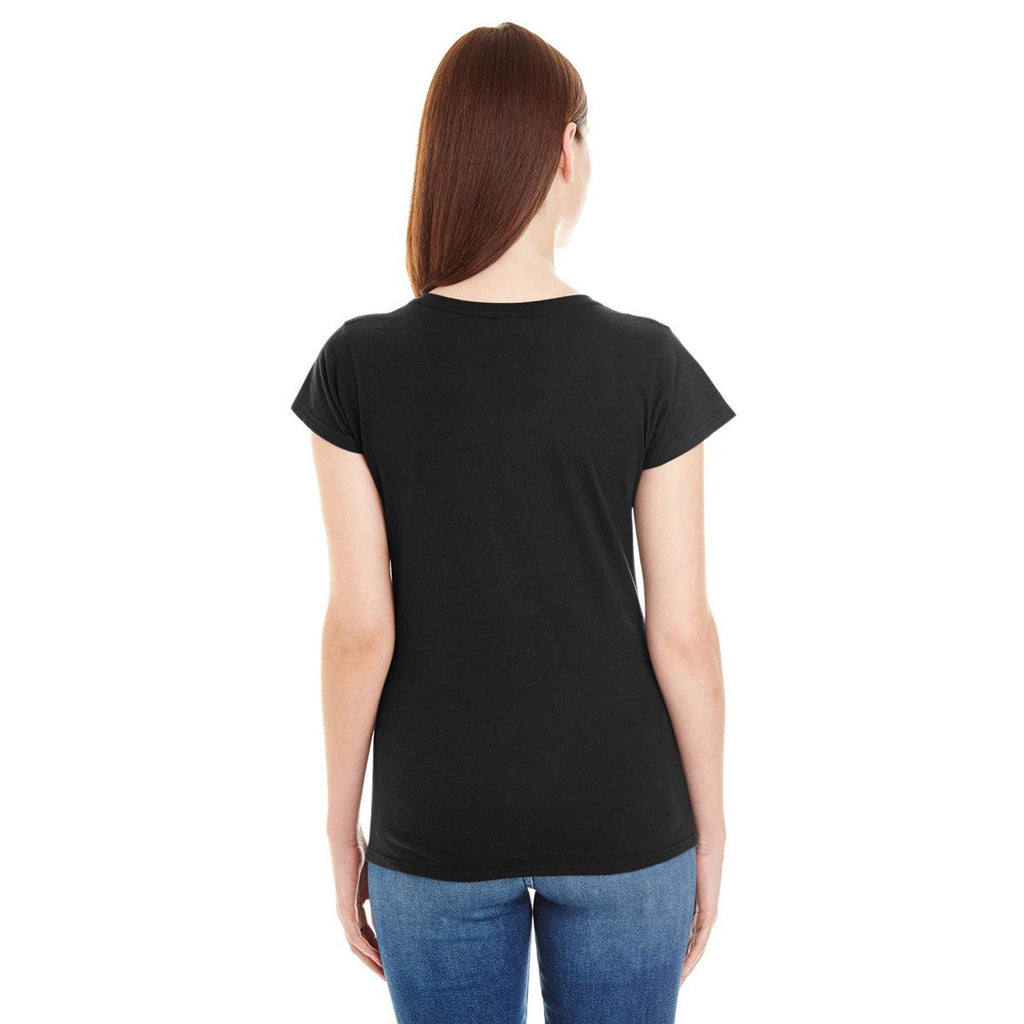Anvil Women's Black Lightweight Fitted V-Neck Tee
