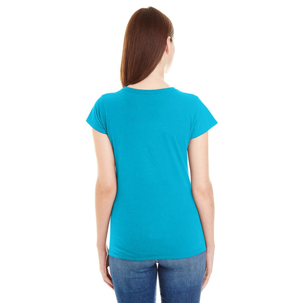 Anvil Women's Caribbean Blue Lightweight Fitted V-Neck Tee