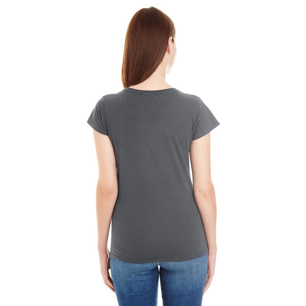 Anvil Women's Charcoal Lightweight Fitted V-Neck Tee