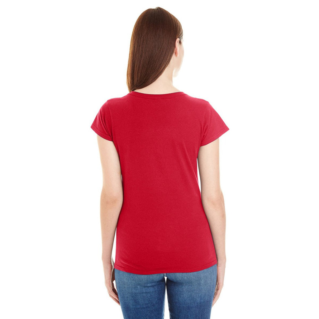 Anvil Women's Red Lightweight Fitted V-Neck Tee
