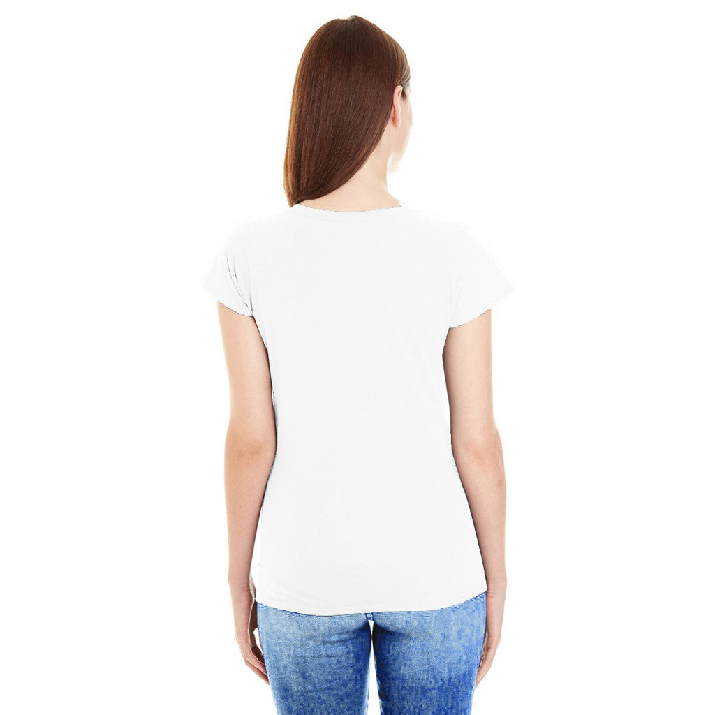 Anvil Women's White Lightweight Fitted V-Neck Tee