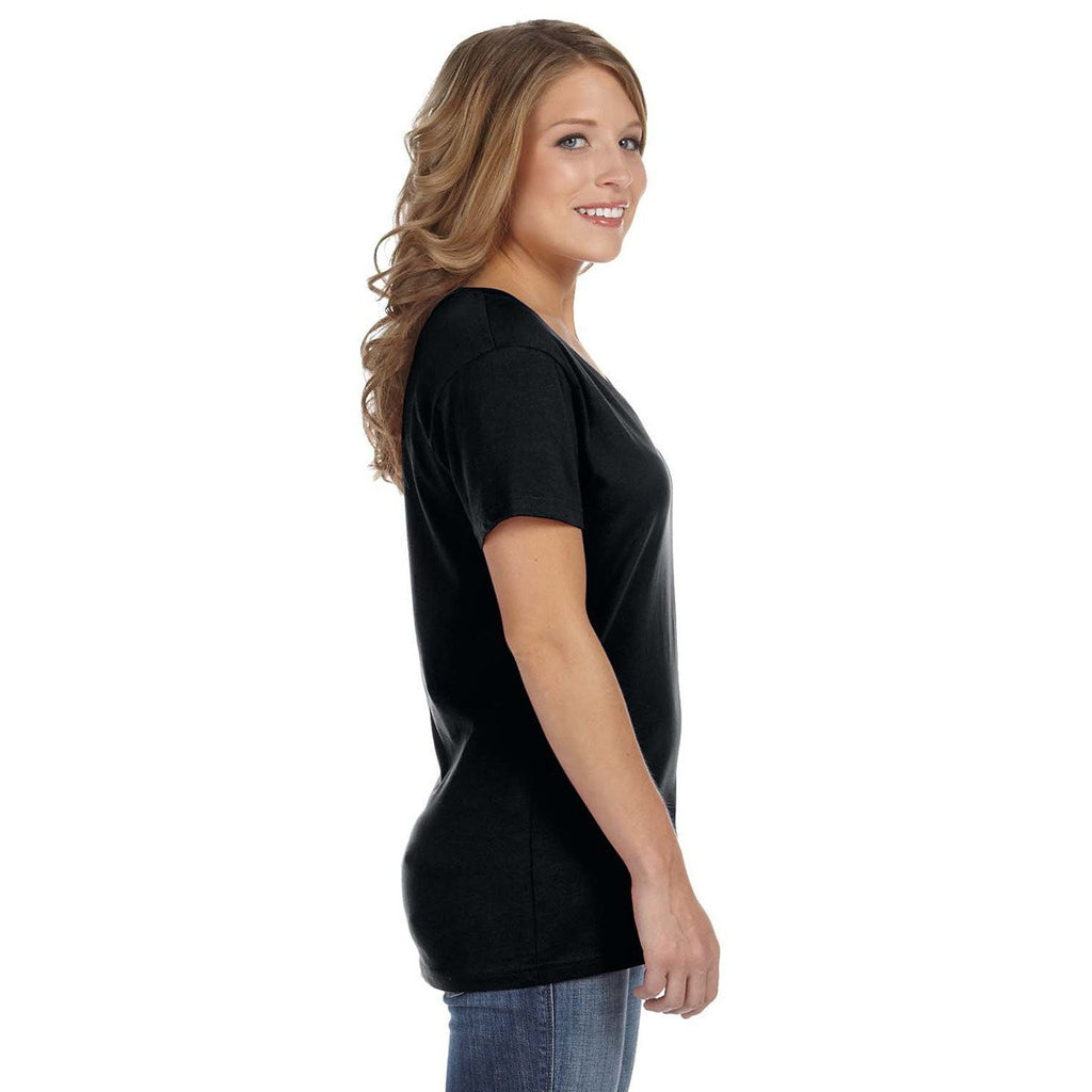 Anvil Women's Black Ringspun Featherweight V-Neck T-Shirt