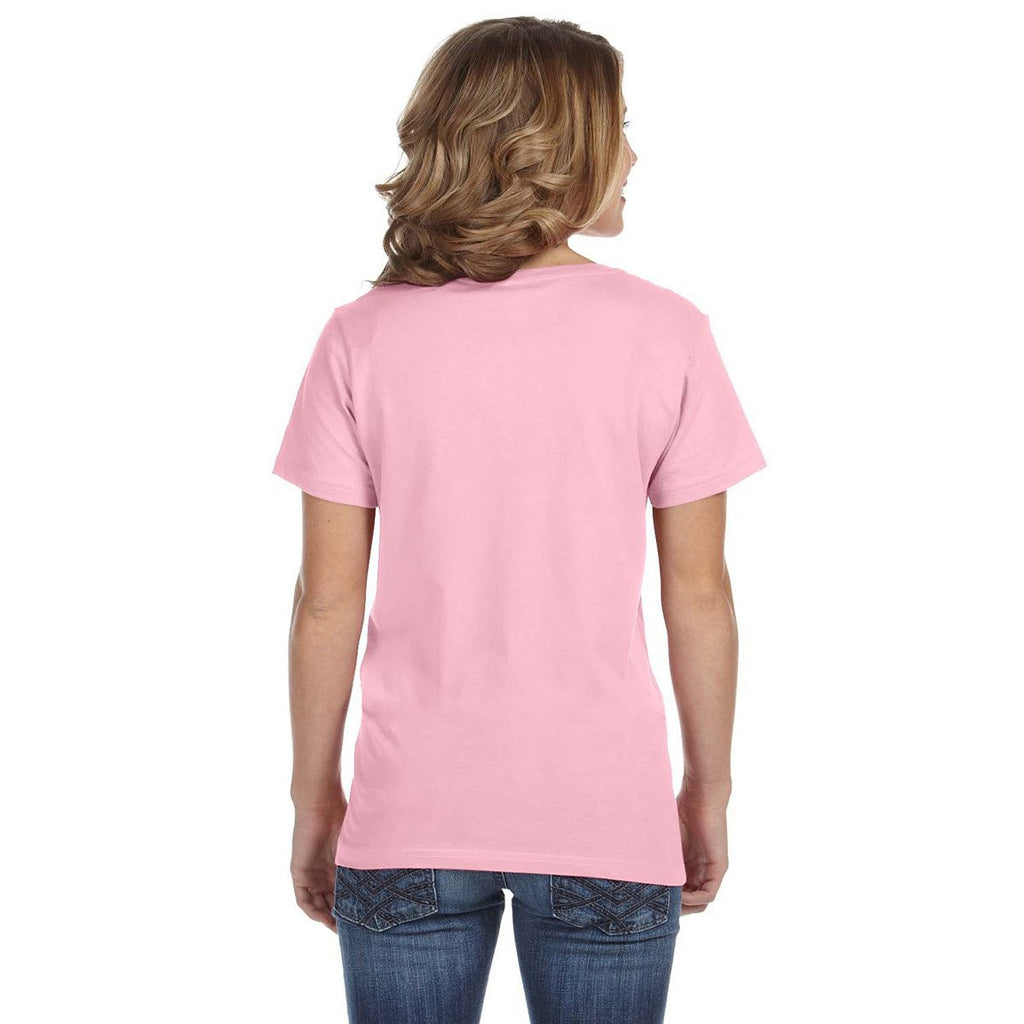 Anvil Women's Charity Pink Ringspun Featherweight V-Neck T-Shirt
