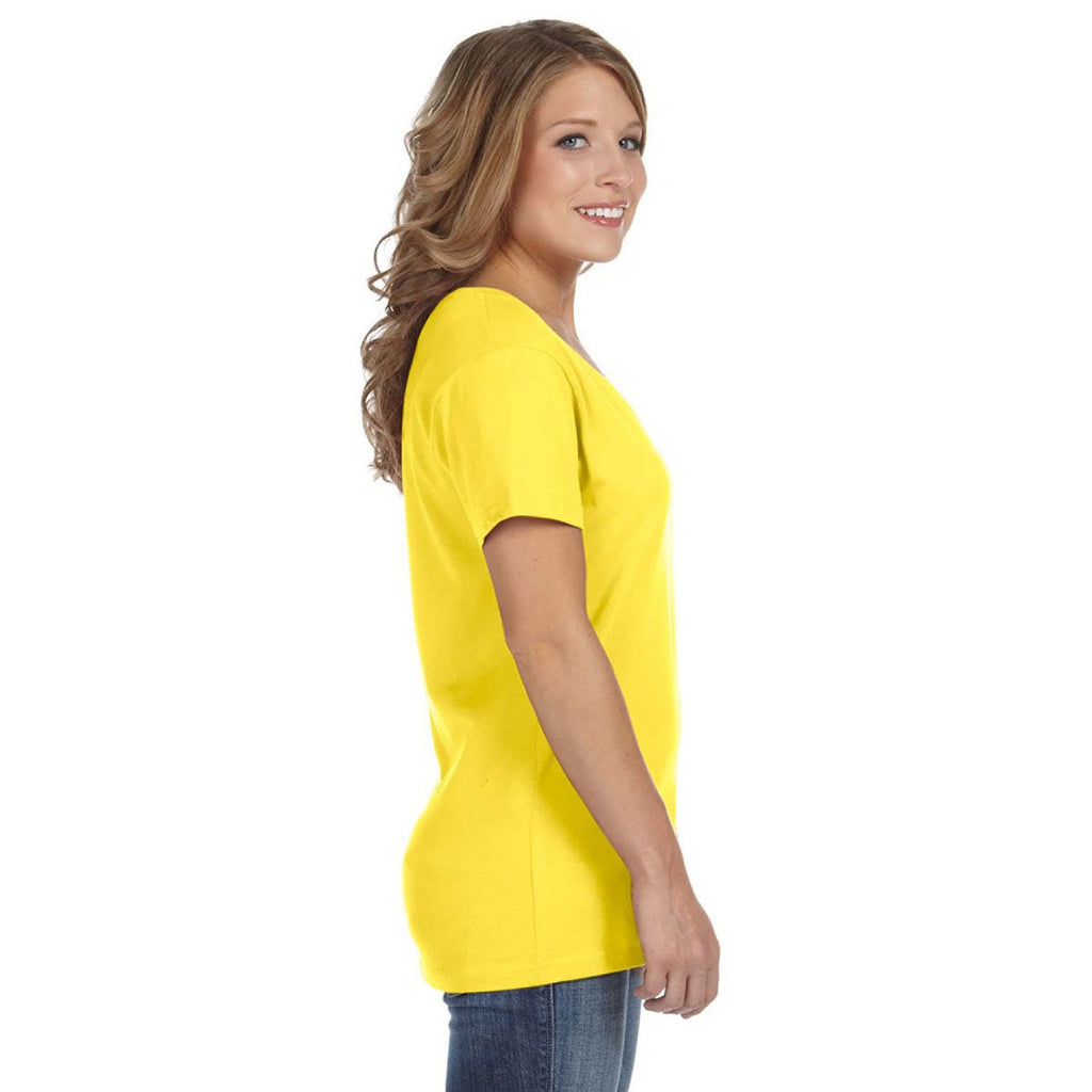 Anvil Women's Lemon Zest Ringspun Featherweight V-Neck T-Shirt