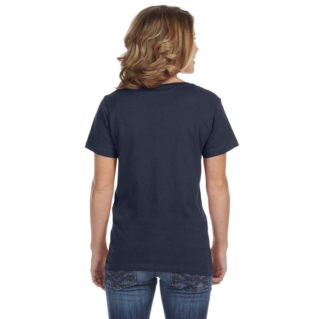 Anvil Women's Navy Ringspun Featherweight V-Neck T-Shirt
