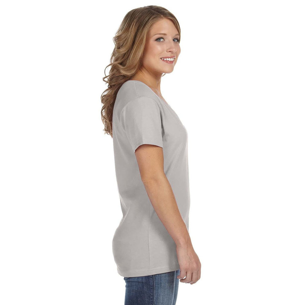 Anvil Women's Silver Ringspun Featherweight V-Neck T-Shirt