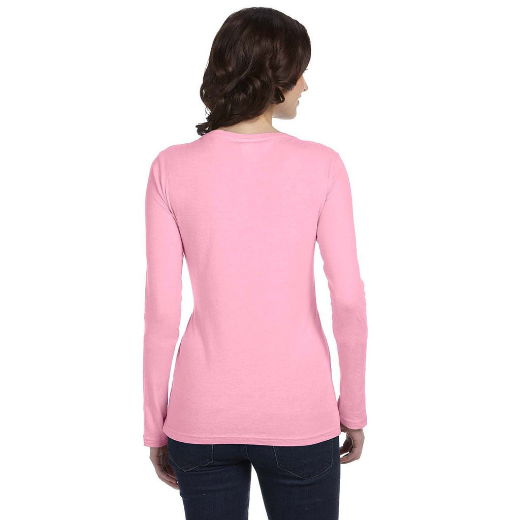 Anvil Women's Charity Pink Ringspun Sheer Long-Sleeve Featherweight T-Shirt