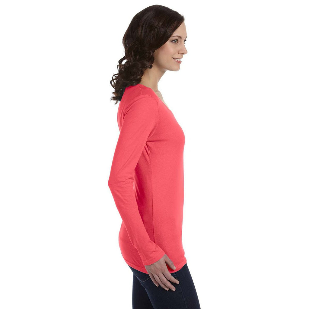 Anvil Women's Coral Ringspun Sheer Long-Sleeve Featherweight T-Shirt