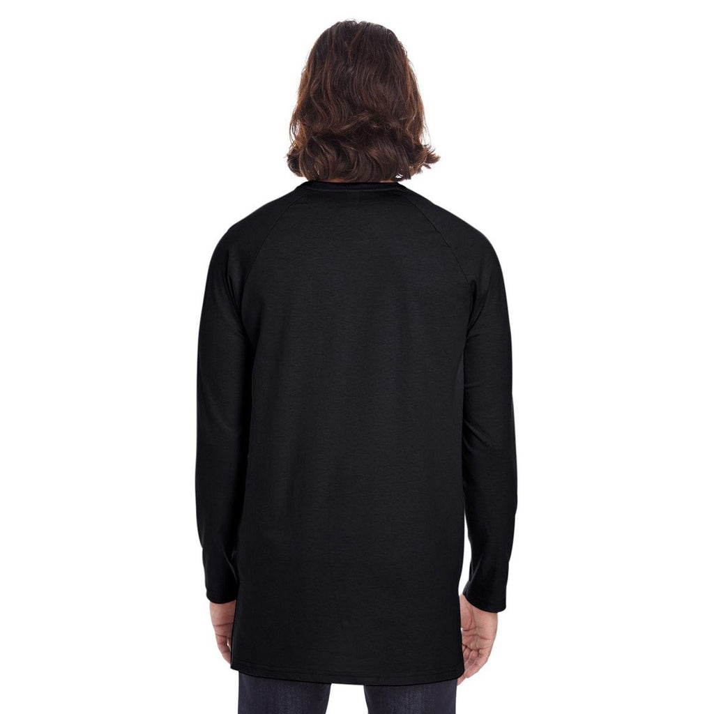 Anvil Men's Black Lightweight Long & Lean Raglan Long Sleeve T-Shirt