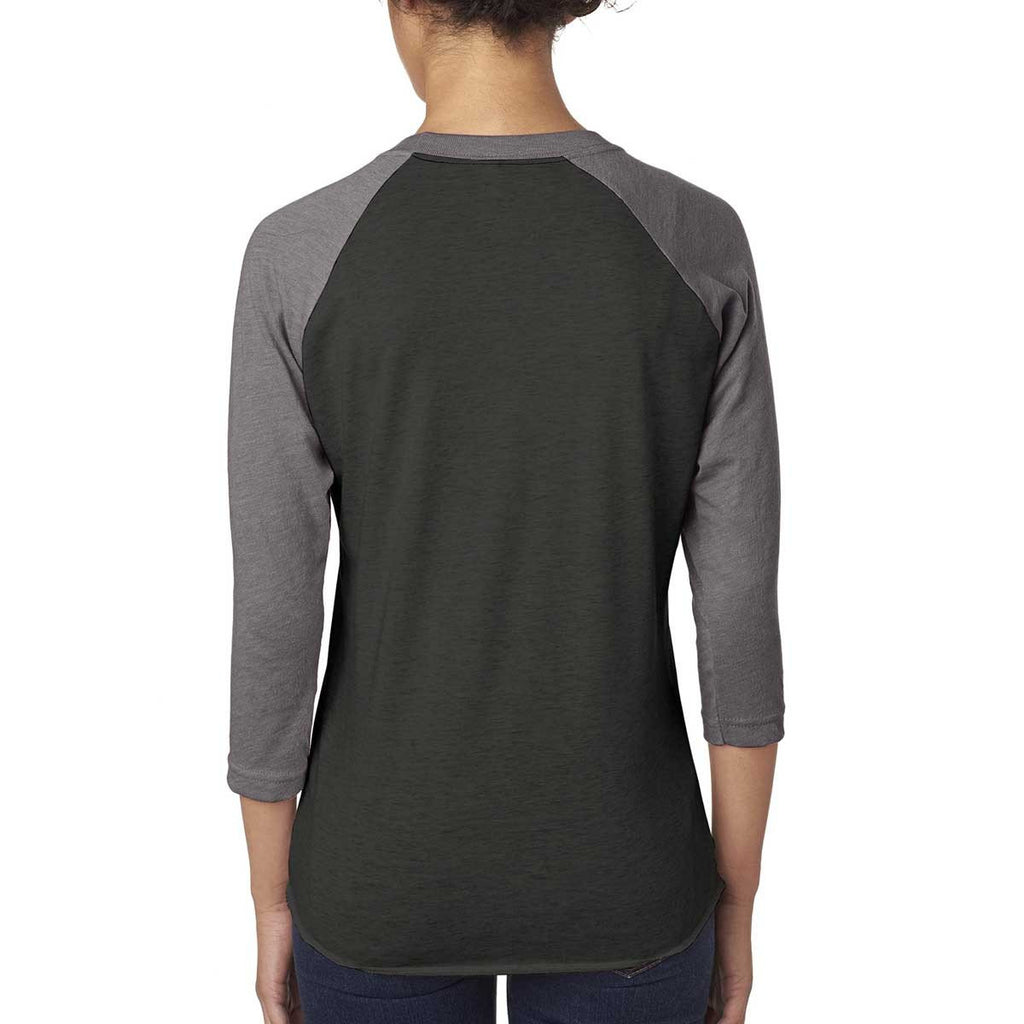 Next Level Unisex Premium Heather/Vintage Black Triblend 3/4-Sleeve Raglan Tee
