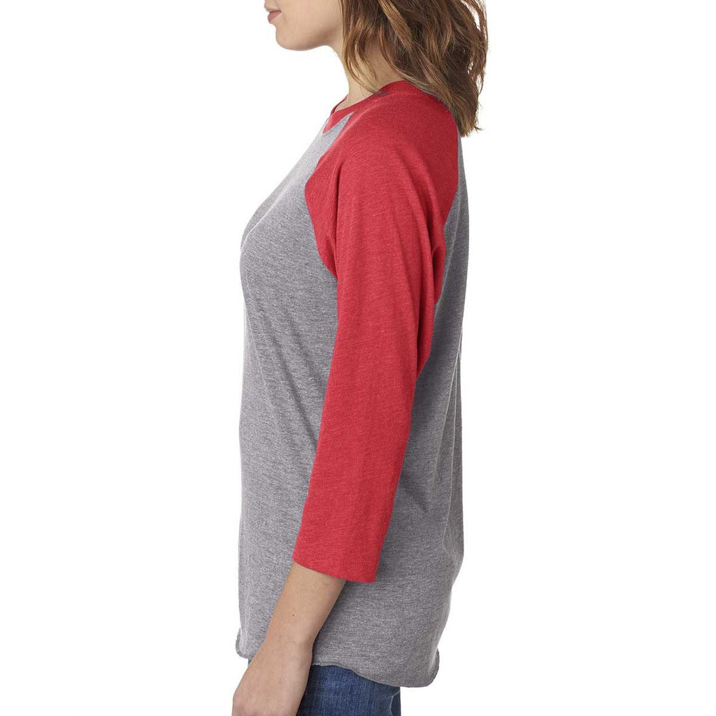 Next Level Unisex Vintage Red/Premium Heather Triblend 3/4-Sleeve Raglan Tee