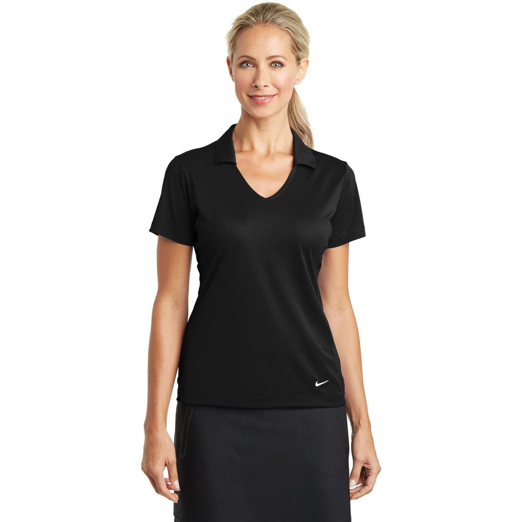 Nike Women's Black Dri-FIT S/S Vertical Mesh Polo