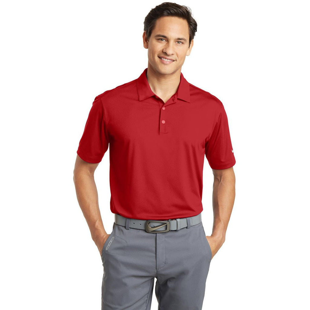 Nike Men's Red Dri-FIT S/S Vertical Mesh Polo