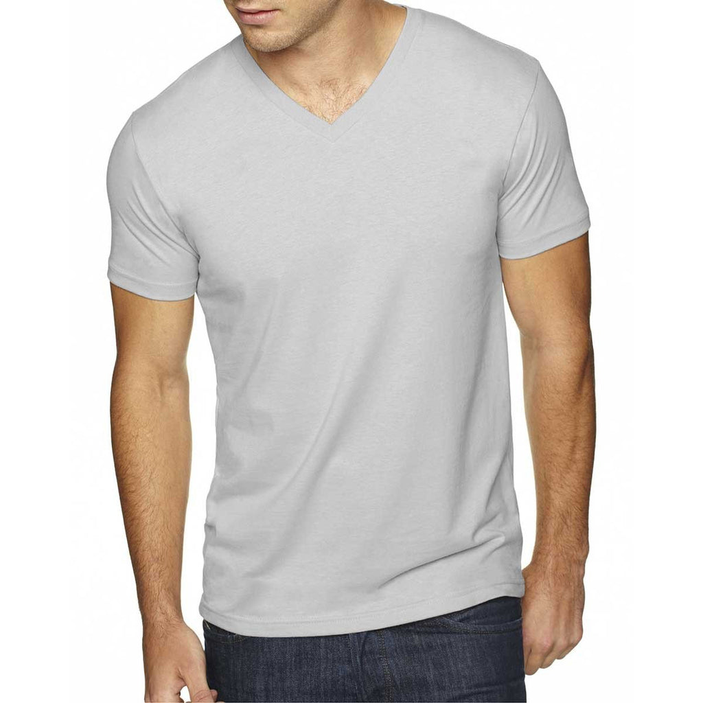Next Level Men's Light grey Premium Fitted Sueded V-Neck Tee