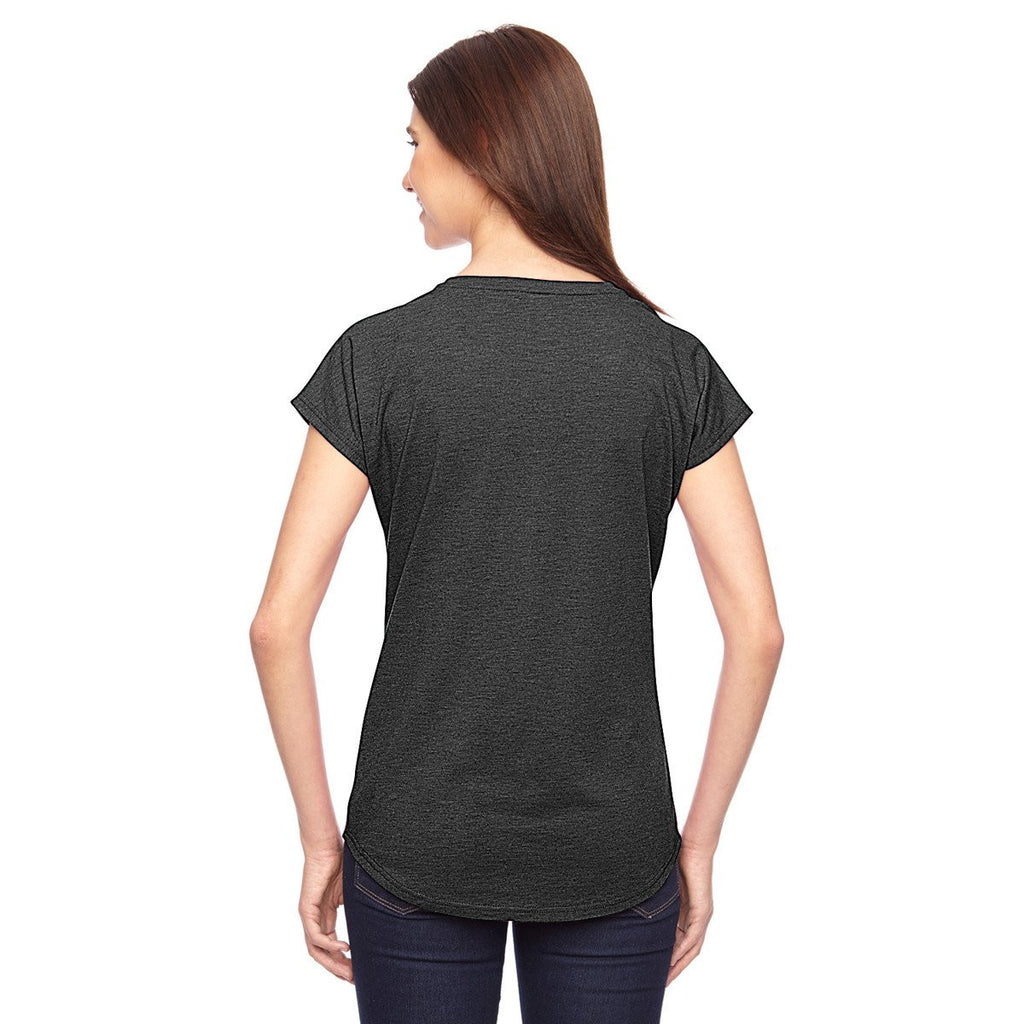 Anvil Women's Heather Dark Grey Triblend V-Neck T-Shirt
