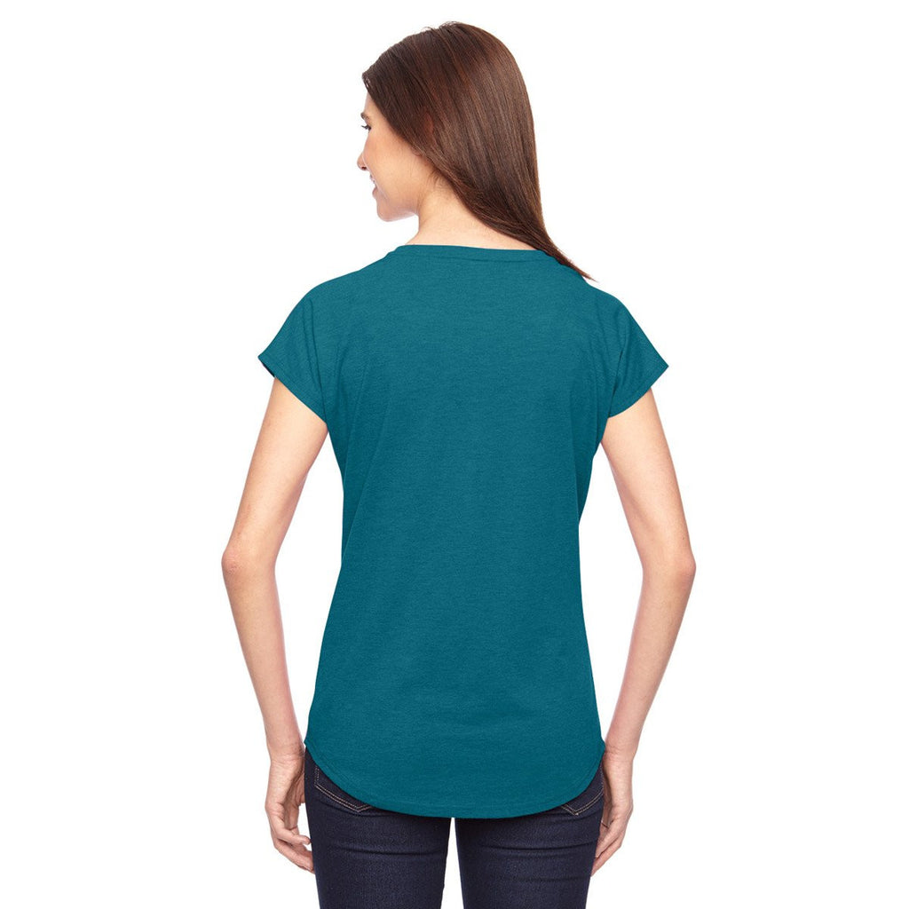 Anvil Women's Heather Galap Blue Triblend V-Neck T-Shirt
