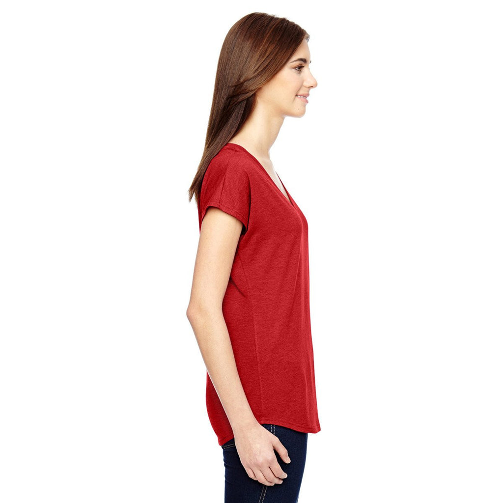 Anvil Women's Heather Red Triblend V-Neck T-Shirt