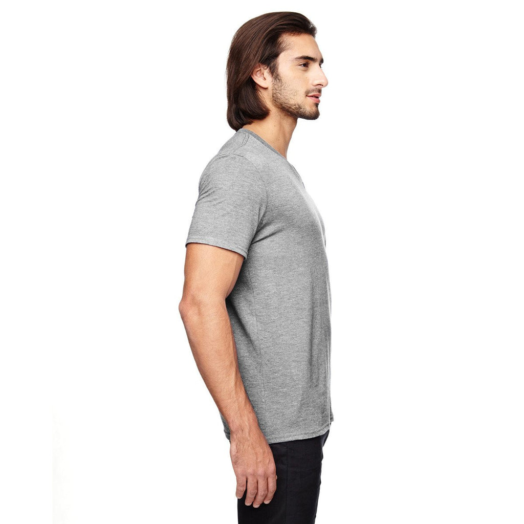 Anvil Men's Heather Grey Triblend V-Neck T-Shirt
