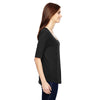 Anvil Women's Black Triblend Deep Scoop Half-Sleeve T-Shirt