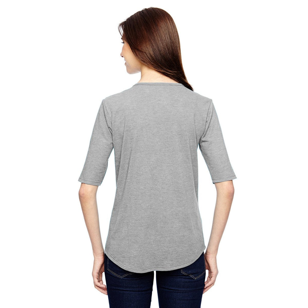 Anvil Women's Heather Grey Triblend Deep Scoop Half-Sleeve T-Shirt