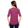 Anvil Women's Heather Raspberry Triblend Deep Scoop Half-Sleeve T-Shirt