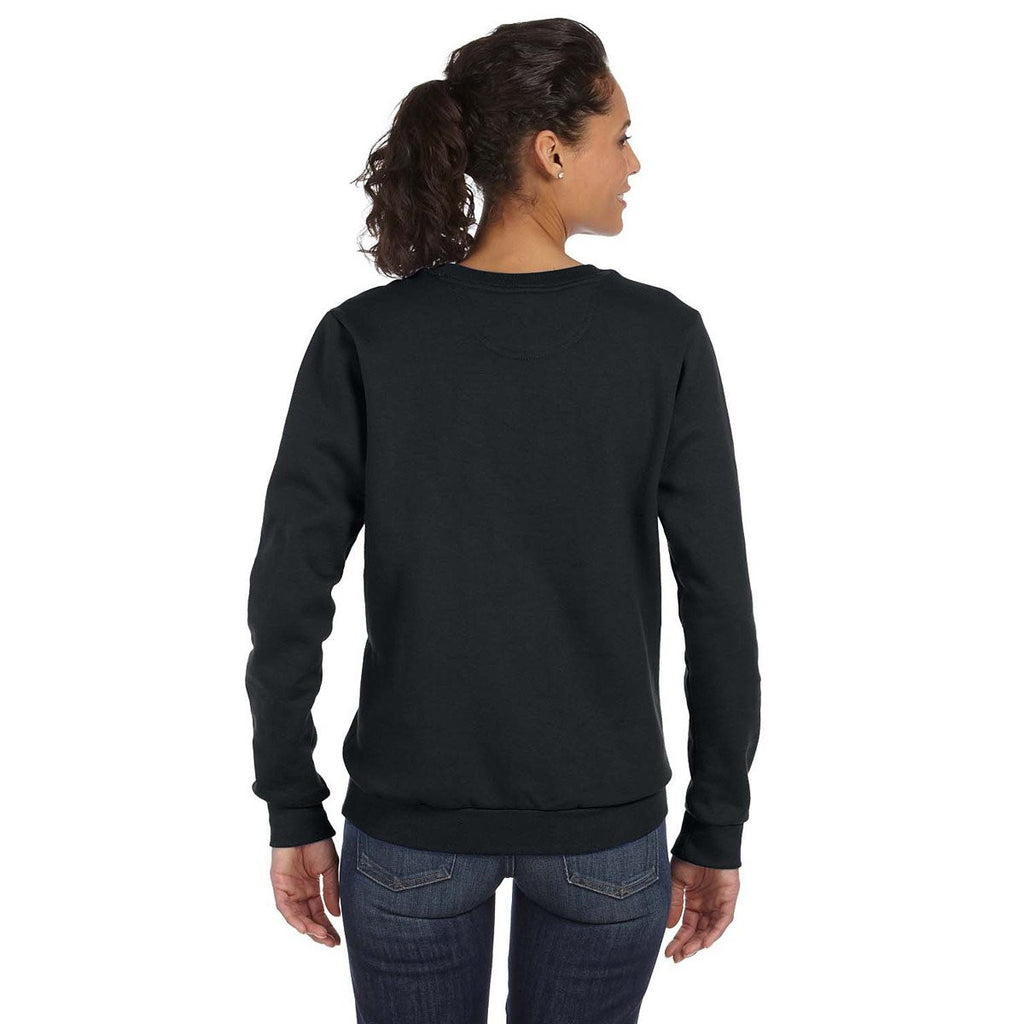 Anvil Women's Black Crewneck Fleece Sweatshirt