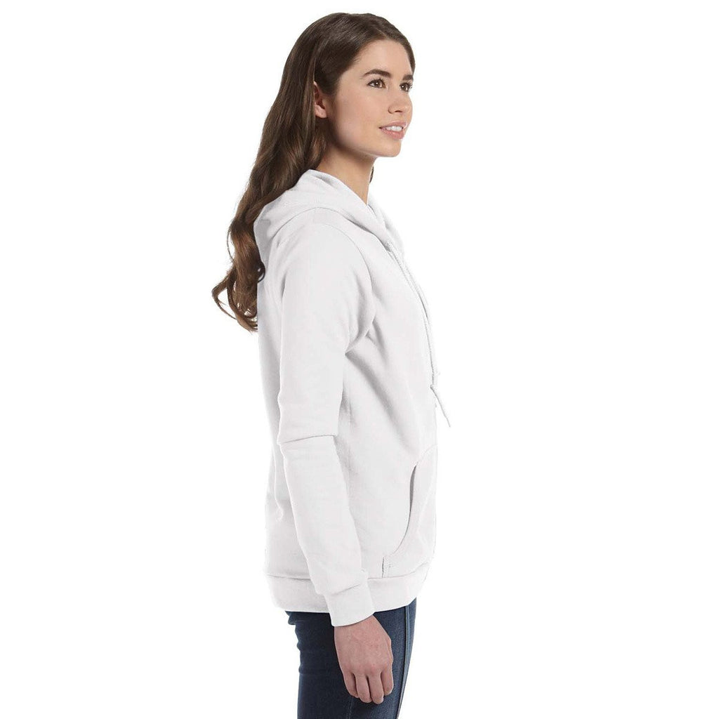 Anvil Women's White Full-Zip Hooded Fleece
