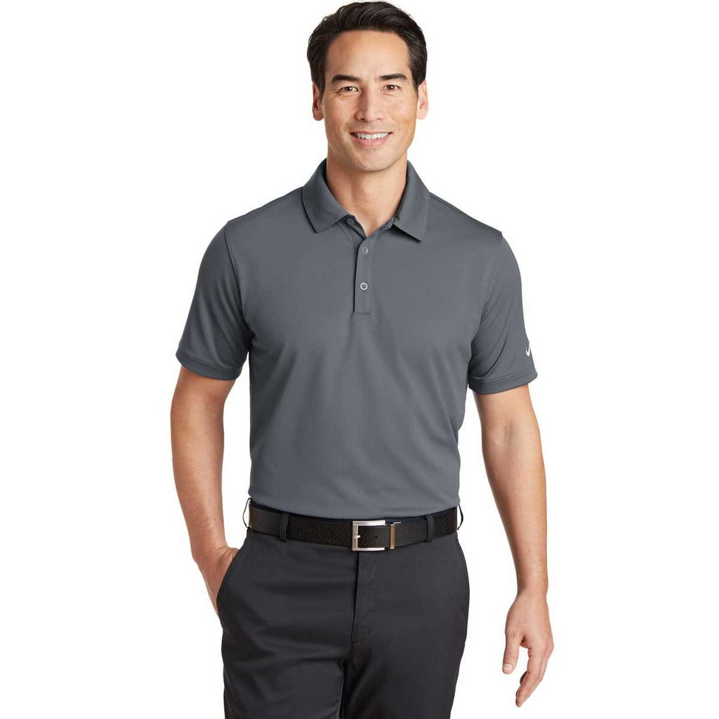 Nike Men's Dark Grey Dri-FIT Solid Icon Pique Polo
