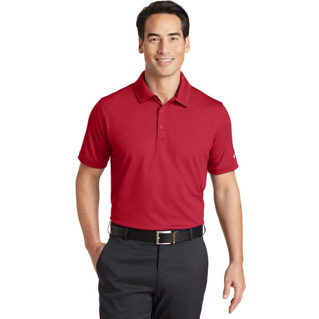 Nike Men's Red Dri-FIT Solid Icon Pique Polo