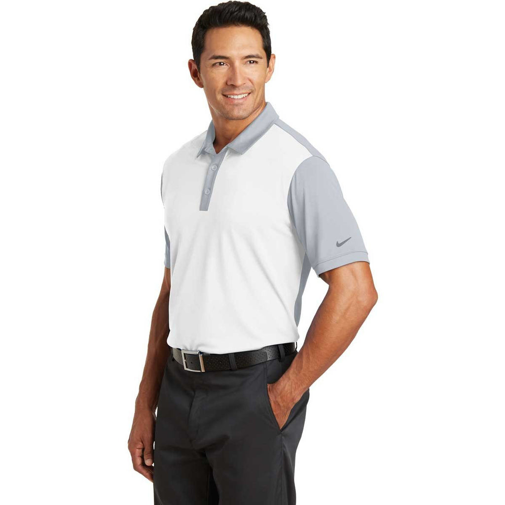 Nike Men's White/Grey Dri-FIT Colorblock Icon Polo