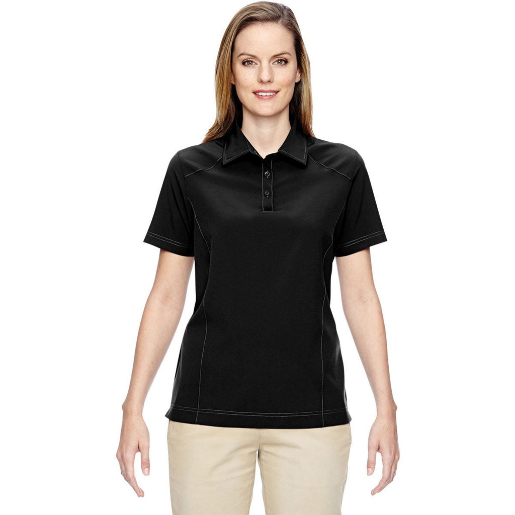 North End Women's Black Excursion Crosscheck Woven Polo