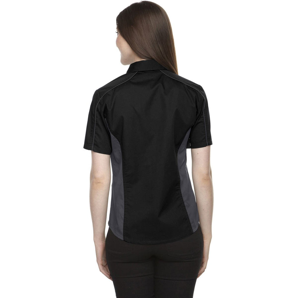 North End Women's Black Fuse Colorblock Twill Shirt