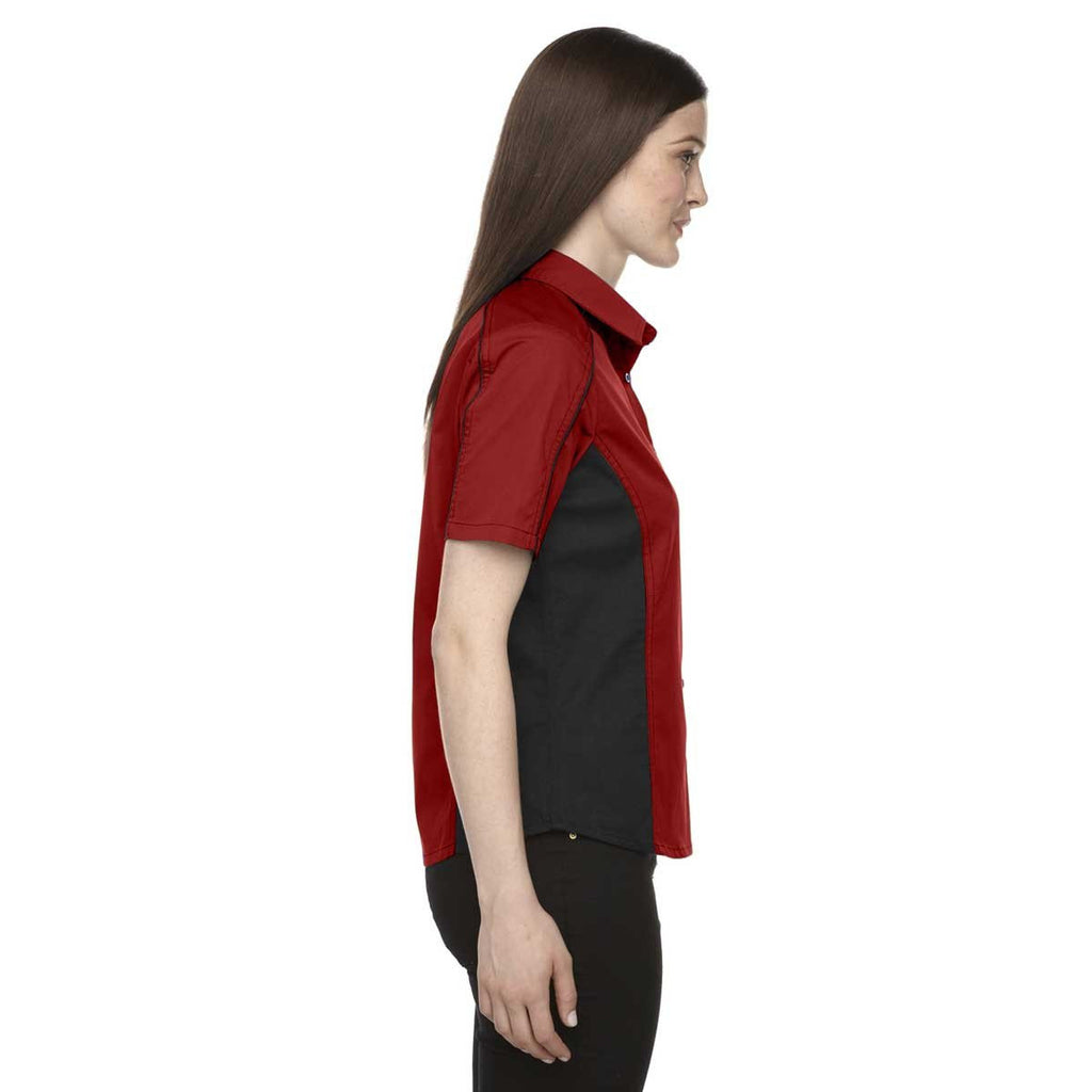 North End Women's Classic Red Fuse Colorblock Twill Shirt